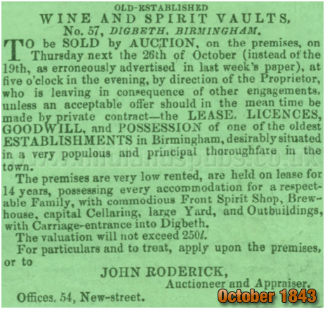 Sale Notice for the Old Guy Inn at Digbeth in Birmingham [1843]