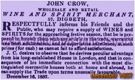 Advertisement for John Crow, Wine and Spirit Merchant at Digbeth in Birmingham [1837]