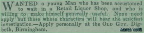 Job Advertisement for the Old Guy Inn at Digbeth in Birmingham [1845]