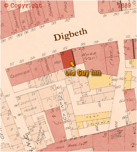 Map showing the location of the Old Guy Inn on Digbeth in Birmingham [1889]