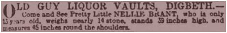 Nellie Brant appearing at the Old Guy Inn at Digbeth in Birmingham [1891]