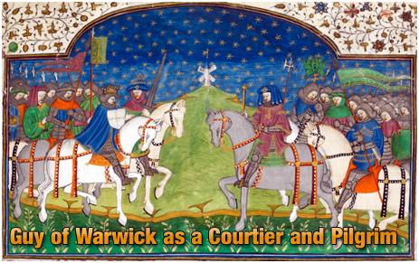 Guy of Warwick from an illumination in Le Romant de Guy de Warwik et d'Heraud d'Ardenne, in the Talbot Shrewsbury Book