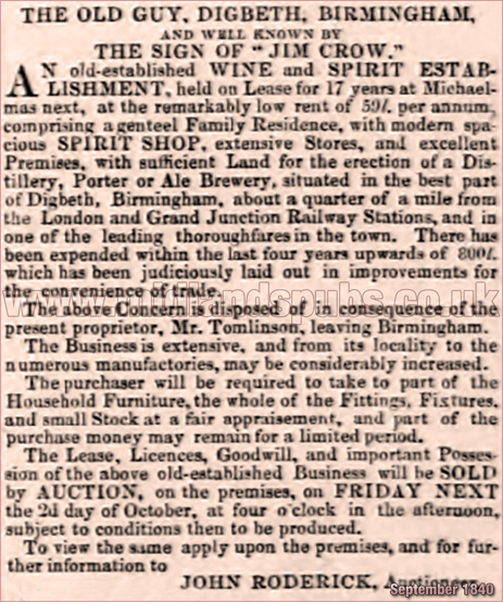 Sale Notice for The Old Guy known by the sign of Jim Crow at Digbeth in Birmingham [1840]