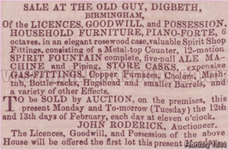 Sale Notice for the Old Guy Inn at Digbeth in Birmingham [1844]