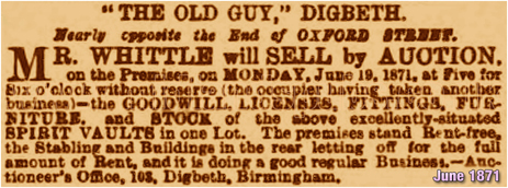 Sale Notice for the Old Guy Inn at Digbeth in Birmingham [1871]