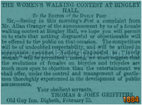 Women's Walking Contest at Bingley Hall in Birmingham [1884]