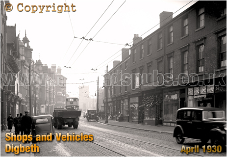 Shops and Vehicles on Digbeth in Birmingham [1930]