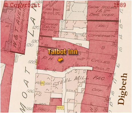 Map showing the location of the Talbot Inn at Digbeth in Birmingham [1889]