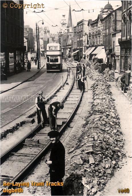 Birmingham : Re-Laying Tram Tracks at Digbeth [1940]