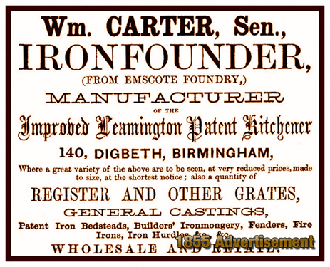 Advertisement for the ironfounder William Carter [1855]