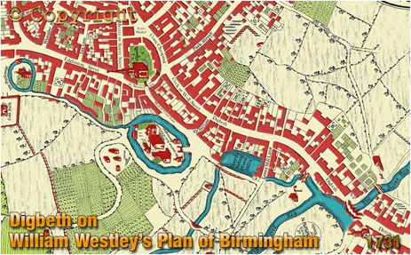Section of William Westley's Plan of Birmingham showing Digbeth [1731]