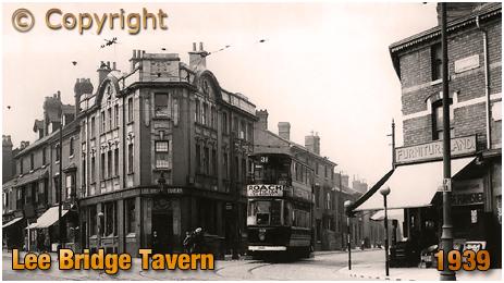 Birmingham : Lee Bridge Tavern on Dudley Road with a tram emerging from Heath Street at Winson Green [1939]