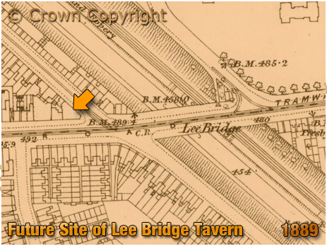 Birmingham : Map showing the future site of the Lee Bridge Tavern on the corner of Dudley Road and Heath Street at Winson Green [1889]