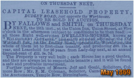 Birmingham : Sale Notice for the lease of Willoughby Cottages on Dudley Road at Winson Green [1869]