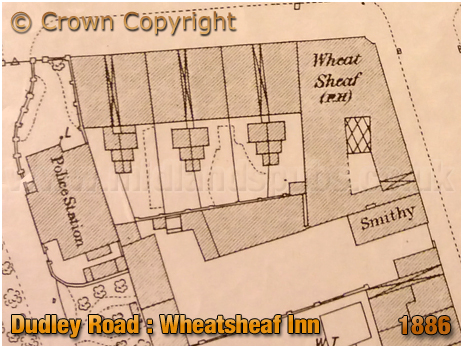 Plan showing the Wheatsheaf Inn on the corner of Dudley Road and Icknield Port Road at Winson Green in Birmingham [1886]