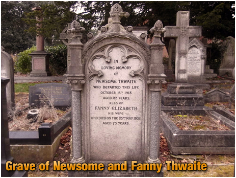 Grave of Newome Thwaite former owner of the Wheatsheaf Inn on Dudley Road at Winson Green in Birmingham