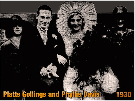 Platts Gollings and Phyllis Davis at their wedding at Christ Church Summerfield in Winson Green [1930]