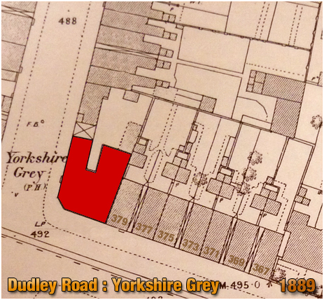 Birmingham : Map showing the Yorkshire Grey on the corner of Dudley Road and Heath Street at Winson Green [1889]