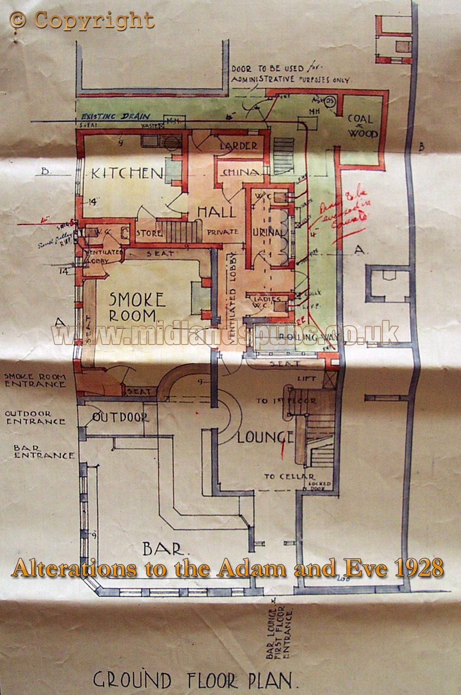 Birmingham : Proposed Floor Plan of the Adam and Eve on Bradford Street at Bordesley in Birmingham [1928]