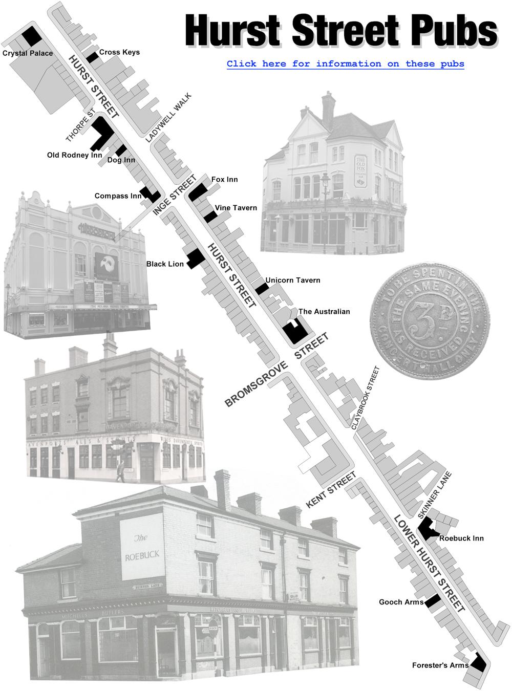 Birmingham : Map of Public-Houses in Hurst Street