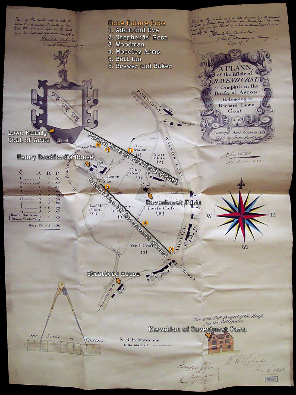 Birmingham : Plan of the Ravenhurst Estate at Bordesley owned by Richard Lowe by Samuel Bradford [1748]
