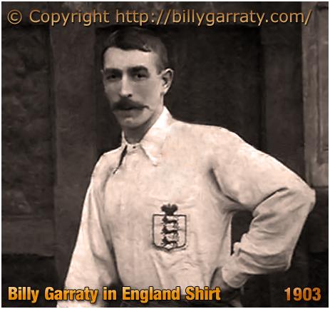 Billy Garraty : Aston Villa footballer in England Shirt [1903]