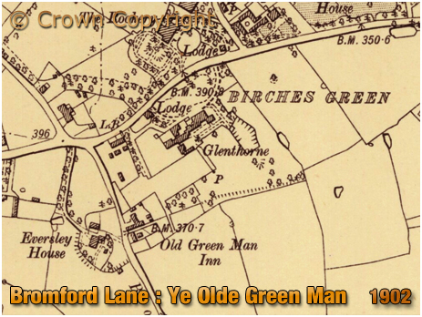 Map showing the location of Ye Olde Green Man at Birches Green at Erdington in Birmingham [1902]