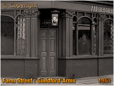Entrance to the bar of the Guildford Arms on the corner of Farm Street and Hospital Street in Hockley [1961]