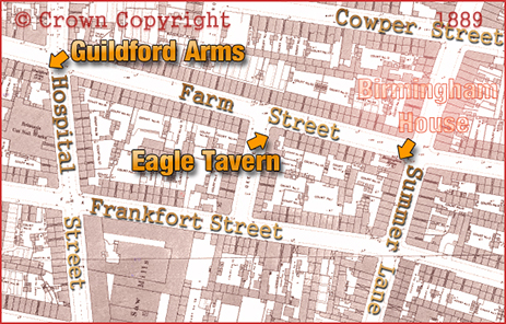 Map showing the locations of the Guildford Arms and Eagle Tavern in Farm Street at Hockley in Birmingham [1889]