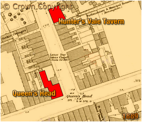 Map showing the locations of the Queen's Head in Farm Street at Hockley and the Hunter's Vale Tavern in Hunter's Vale at Lozells in Birmingham [1889]