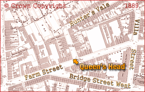 Map showing the location of the Queen's Head on the corner of Farm Street and Hunter's Vale at Hockley in Birmingham [1889]