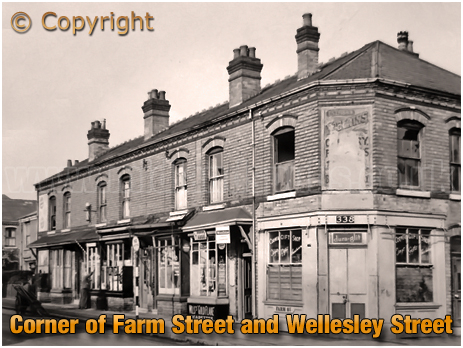 Shops on Farm Street close to the junction of Wellesley Street in Hockley [c.1960s]