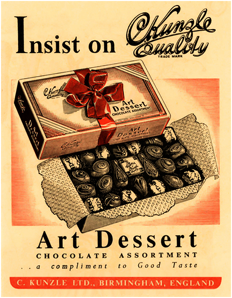 Birmingham : Advertisement for Kunzle's Chocolate Assortment