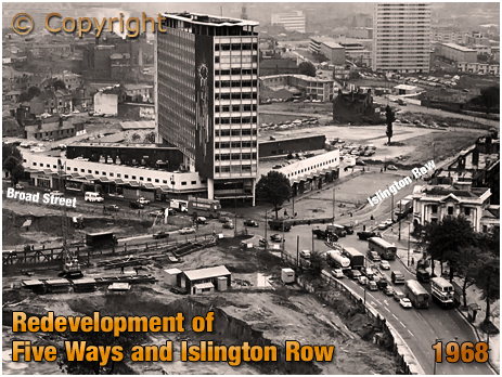 Birmingham : Five Ways Shopping Centre and Auchinleck House at Edgbaston [1968]