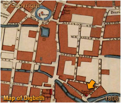 Birmingham : Map Extract showing the Spring Gardens at Floodgate Street [1808]