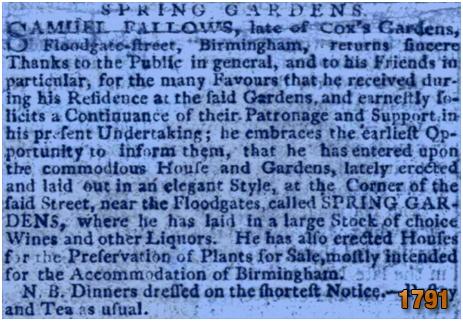 Birmingham : Advertisement for the Spring Gardens at Floodgate Street [1791]