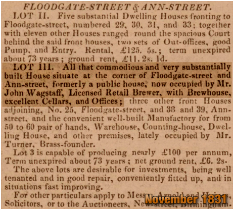 Birmingham : Advertisement  for an auction of the former Spring Gardens public-house on the corner of Floodgate Street and Ann Street [1831]