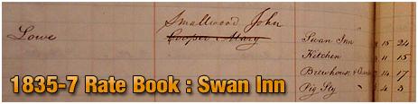 Birmingham : Rate Book entry for the Swan Inn on Floodgate Street [1835-7]