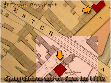Birmingham : Map showing the locations of the Spring  Gardens and Swan Inn on Floodgate Street [1880s]