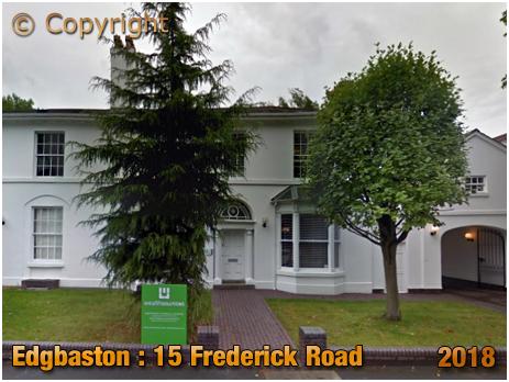 Edgbaston : Former Home of the Brewer John Jordan at No.15 Frederick Road [2018]