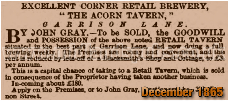 Birmingham : Sale of the lease of the Acorn Tavern on the corner of Garrison Lane and Barwell Road at Bordesley [1865]