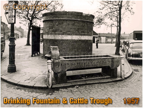 Birmingham : Drinking Fountain and Cattle Trough at the junction of Garrison Lane and Lawley Street in Bordesley [1957]
