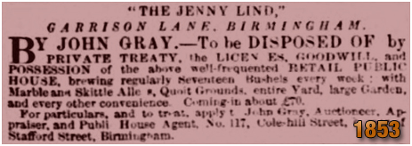 Birmingham : Sale of the lease of the Acorn Tavern on Garrison Lane [1853]