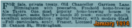Birmingham : Sale of the Old Chancellor on Garrison Lane [1914]