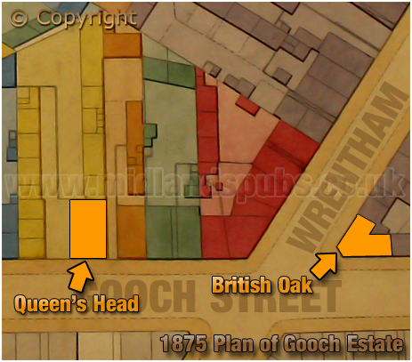 Birmingham : Extract from Gooch Estate Plan showing the Queen's Head on Gooch Street in Highgate [1875]