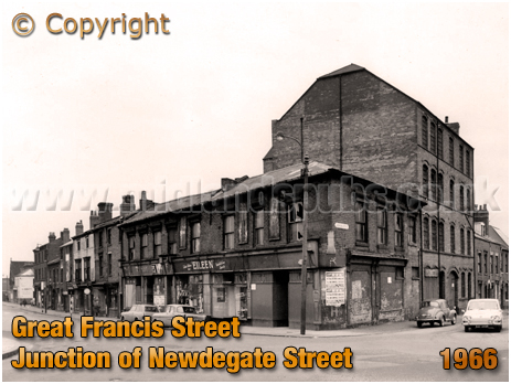 Birmingham : Junction of Great Francis Street and Newdegate Street in Vauxhall [1966]