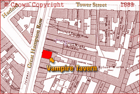 Map showing the location of the Vampire Tavern on Great Hampton Row at Hockley in Birmingham [1888]