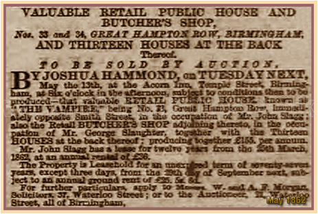 Sale of the Freehold for the Vampire Tavern on Great Hampton Row at Hockley in Birmingham [1862]