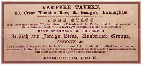 Advertisement for the Vampyre Tavern in Great Hampton Row at Hockley in Birmingham [1854]