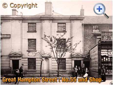 Birmingham : Businesses at No.55 Great Hampton Street with adjoining Shop [c.1899]